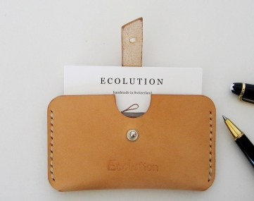 Vegetable tanned Leather Business Card Holder.Hand sewn by Ecolution on Etsy.