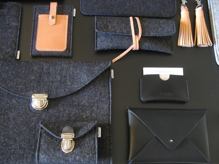 Ecolution handmade wool felt leather collection charcoal grey vegetable tanned leather